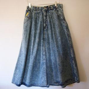 Jordache Acid Washed Denim A-Line Skirt 14